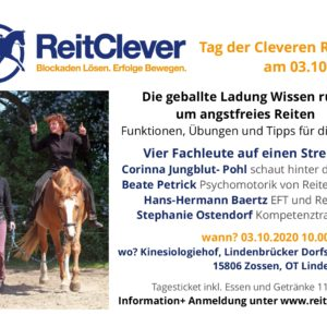 Das Programm für den Tag der Cleveren Reiter 2020 zum Oberthema Reiten trotz Angst steht.