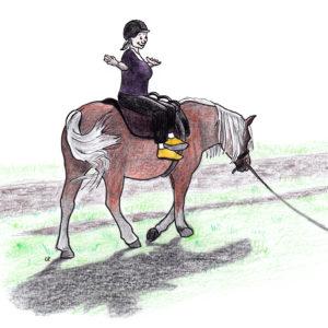 Locker und balanciert auf dem Pferd